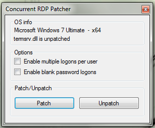 Remote desktop concurrent connections patcher