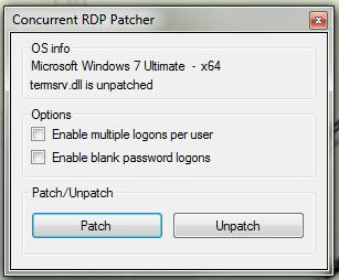 Remote desktop concurrent connections patcher