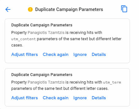 Google analytics notification - Duplicate campaign parameters group